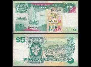 SINGAPUR - SINGAPORE 5 Dollars (1997) F/VF (3/4) Pick 35 (23974