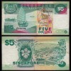 SINGAPUR - SINGAPORE 5 Dollars (1989) F/VF (3/4) Pick 19 (23976