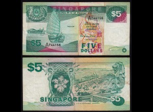 SINGAPUR - SINGAPORE 5 Dollars (1989) F/VF (3/4) Pick 19 (23976