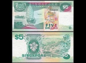 SINGAPUR - SINGAPORE 5 Dollars (1989) XF (2) Pick 19 (23977