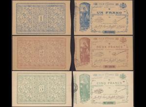 Frankreich - France - 1, 2 + 5 Francs Ville D´AMIENS 1914 RAR (13236