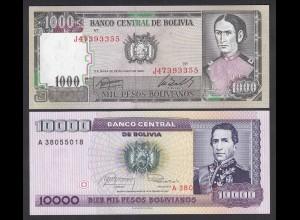 Bolivien - Bolivia 1000 + 10000 Bolivianos 1982/4 UNC (1) 23992