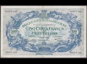 Belgium - Belgien 500 Francs 100 Belgas 9-9-1943 Pick 109 VF large notes (11781