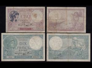 Frankreich - France 5 + 10 Francs 1939 Pick 83 + 84 F/VF (4/3) (24001