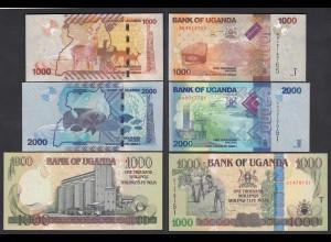 UGANDA - 3 Stück 1000,1000,2000 Shillings Banknoten 2009/10 UNC (24006
