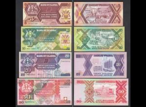 UGANDA - 4 Stück 5,10,20,50 Shillings Banknoten 1987/96 UNC (1) (24008