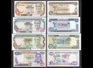 Sambia - Zambia - 4 Stück 5,10,20,100 Kwacha 1989/91 UNC (1) (24009