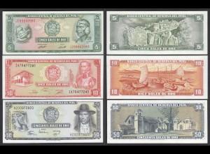 Peru 5,10,50 Soles Banknoten 1974-77 UNC (1) (24010