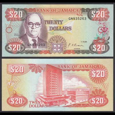 JAMAIKA - JAMAICA 20 Dollars Banknote 1991 Pick 72d UNC (1) (24030
