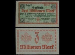 Dresden Reichsbahn 3 Million Mark 1923 Notgeld Reihe E (24035