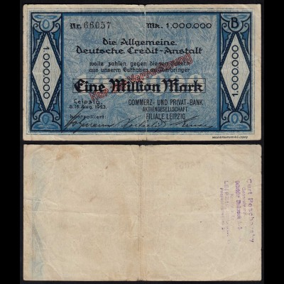 Credit Anstalt Leipzig 1 Million Mark Commerz- + Privatbank 1923 F (4) (24036