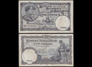 Belgien - Belgium 5 Francs Banknote 02.05.1938 Pick 108 VF (13902