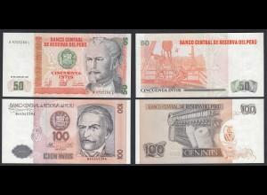 PERU 50 + 100 Intis Banknoten UNC (1) Pick 131 + 133 (24136