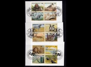 UNO Wien Genf New-York gefährdete Tiere 4er Block auf Briefstück ESST (24138
