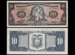 Ecuador 10 Sucres Banknote 1986 Pick 121 VF (3) (24141
