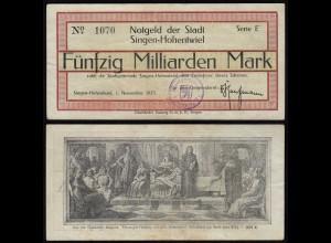 SINGEN-HOHENTWIEL 50 Milliarden Mark Notgeld 1923 VF (3) (24150