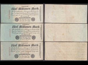 Reichsbanknoten - 3 Stück á 5 Millionen Mk 1923 Ros. 94 Serie A,B,C etwa VF (3)