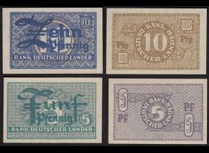 BDL - 5 + 10 Pfennig Banknoten 1948 UNC (1) Ro. 250/51 Pick 11/12 (24196