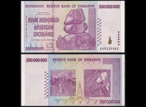 Simbabwe - Zimbabwe 500 Millionen Dollars 2008 Pick 82 aUNC (1-) (24174