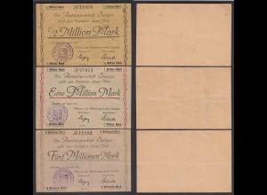 Saulgau 1/2, 1, 5 Millionen Mark 1923 Notgeld Württemberg (24161