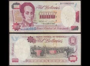 Venezuela 1000 Bolivares Banknote 1992 F (4) Pick 73c (24212