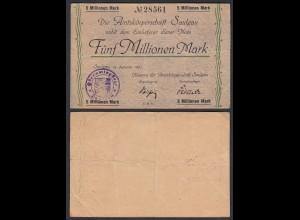 Saulgau 5 Millionen Mark 1923 Notgeld Württemberg (24159