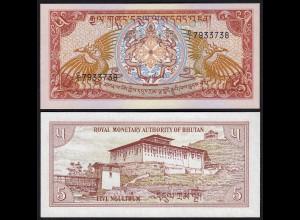 Bhutan - 5 Ngultrum Banknote (1985) UNC Pick 14 (24298