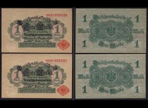 Darlehnskassenschein 2 Stück á 1 MARK 1914 Ros. 51c laufende Nr. UNC (1)