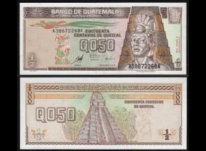 Guatemala 1/2 Quezal Banknote 1998 UNC (1) Pick 98 (24282
