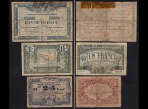 Frankreich - France 3 Stück Lokal/Provinz Banknoten 1917/22 gebraucht (24276