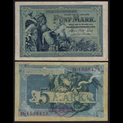 Reichskassenschein - 5 Mark 1904 Ro 22b Pick 8 etwa VF (3) (24273