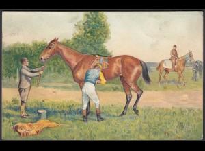 AK Prägekarte Pferde-Sport Jockey (b415