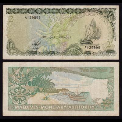 MALEDIVEN - MALDIVES 2 Rufiyaa Banknote 1983 Pick 9 F/VF (3/4) (18062