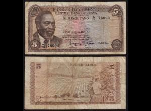KENIA - KENYA 5 Shillings Banknote 1973 Pick 6d VG (5) (18043