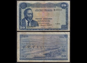 KENIA - KENYA 20 Shillings Banknote 1972 Pick 8c F (4) (18037