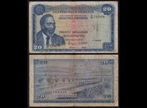KENIA - KENYA 20 Shillings Banknote 1972 Pick 8c F- (4-) (18036