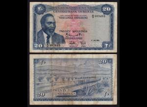 KENIA - KENYA 20 Shillings Banknote 1966 Pick 3a F- (4-) (18031