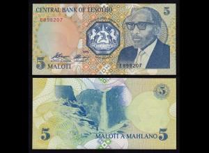 LESOTHO 5 Maloti Banknote 1989 Pick 10 UNC (1) (18003