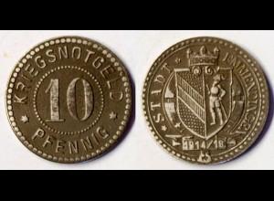 Emmendingen Stadt 10 Pfennig Notgeld 1914/18 iron WW1 Funck 117.2 (r1020