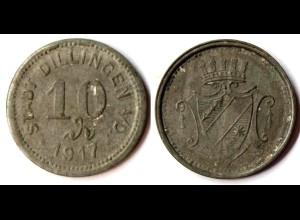 Germany - Dillingen Stadt 10 Pfennig Notgeld 1917 zinc WW1 Funck 94.5 (r1005