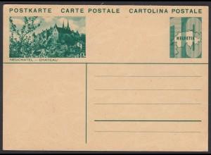 Schweiz - Switzerland 10 R. Postkarte Ganzsache Neuchatel Chateau * (23771