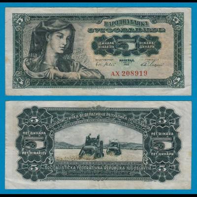 Jugoslawien - Yugoslavia 5 Dinara Banknote 1965 F (4) Pick 77 (18305