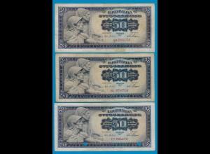 Jugoslawien - Yugoslavia 3 Stück á50 Dinara Banknote 1965 F (4) Pick 79 (18306