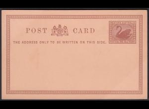 Western Australia Postal Stationery POSTCARD Swan one Half Penny unused (24094