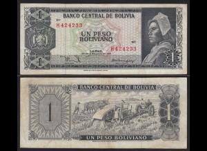 Bolivien - Bolivia 1 Peso Bolivianos 1962 VF- (3-) Pick 158 (24262