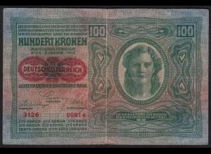 ÖSTERREICH - AUSTRIA 100 Kronen 1912 (1919) Pick 56 F/VF (3/4) 24322