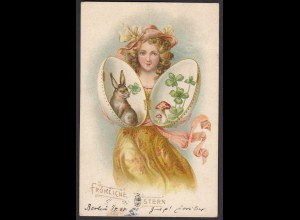 AK Fröhliche Ostern 1904 nach Kitzingen Mädchen Hase (15902