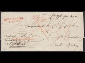 Baden - 1843 Brief OFFENBURG L2r mit Attest über SEUCHEN-FREIHEIT (15876