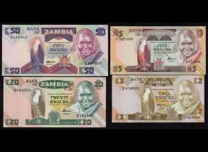 Sambia - Zambia - 4 Stück 2,5,20,50 Kwacha UNC (1) (17969