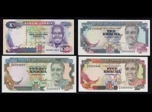 Sambia - Zambia - 4 Stück 5,10,20,100 Kwacha UNC (1) (17972